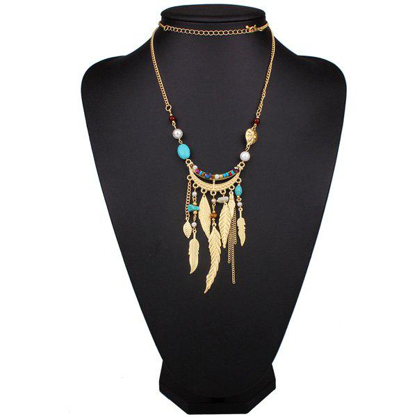 Natural Stone Beaded Feather Sweater Chain - GOLDEN