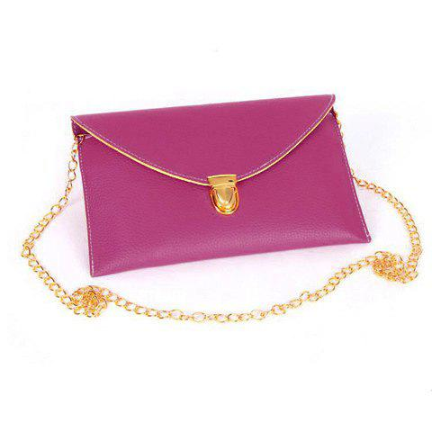 Stylish Envolope and Push-Lock Design Clutch For Women - PLUM