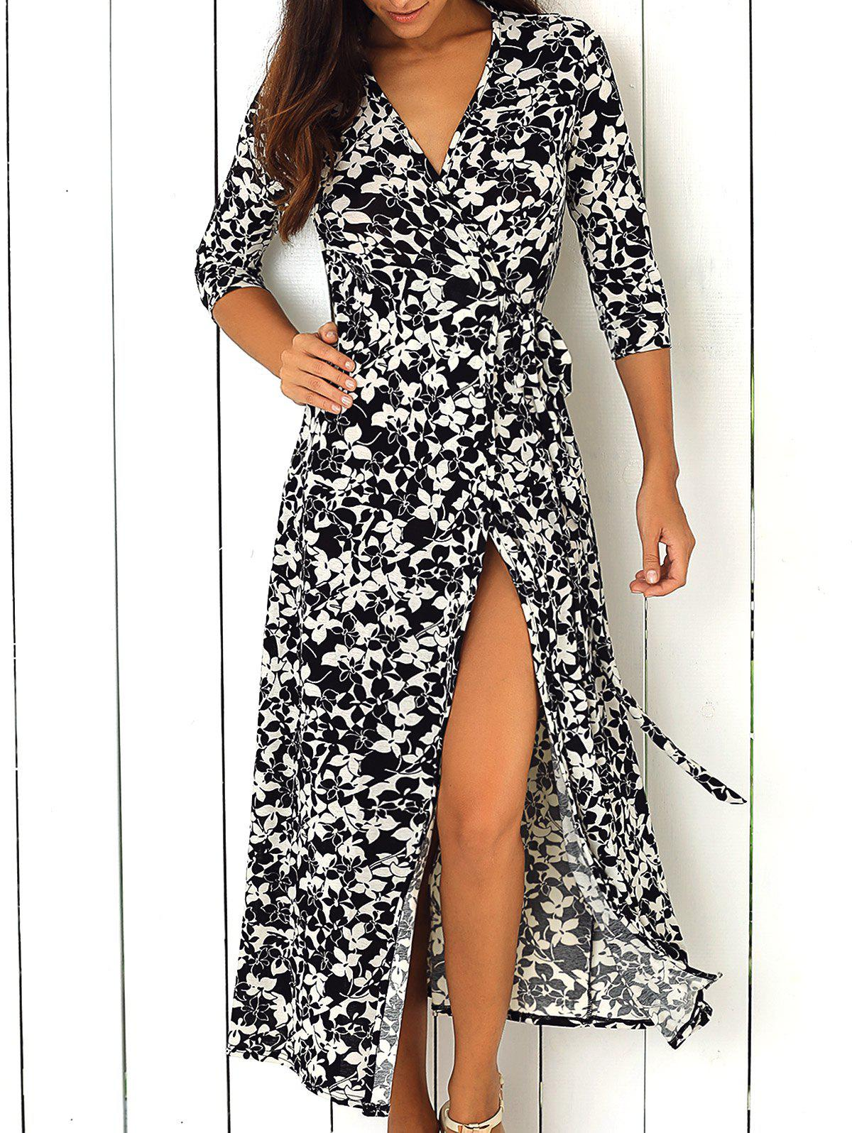 Maxi Floral Wrap Swing Dress with Sleeves - WHITE/BLACK XL