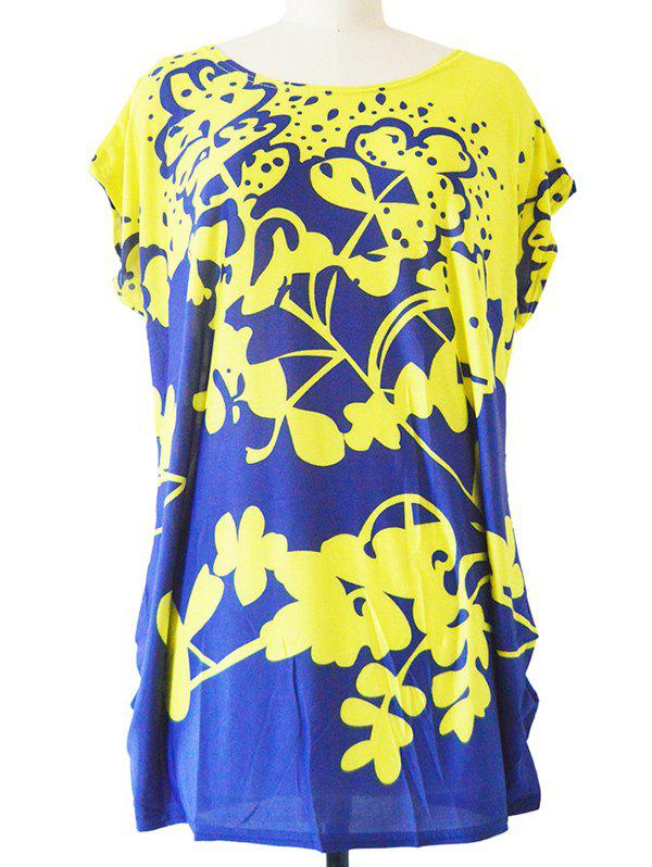 Abstract Floral Print Loose-Fitting T-Shirt - BLUE/YELLOW ONE SIZE