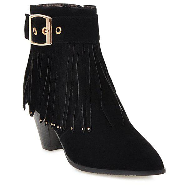 Fringe Buckle Pointed Toe Short Boots