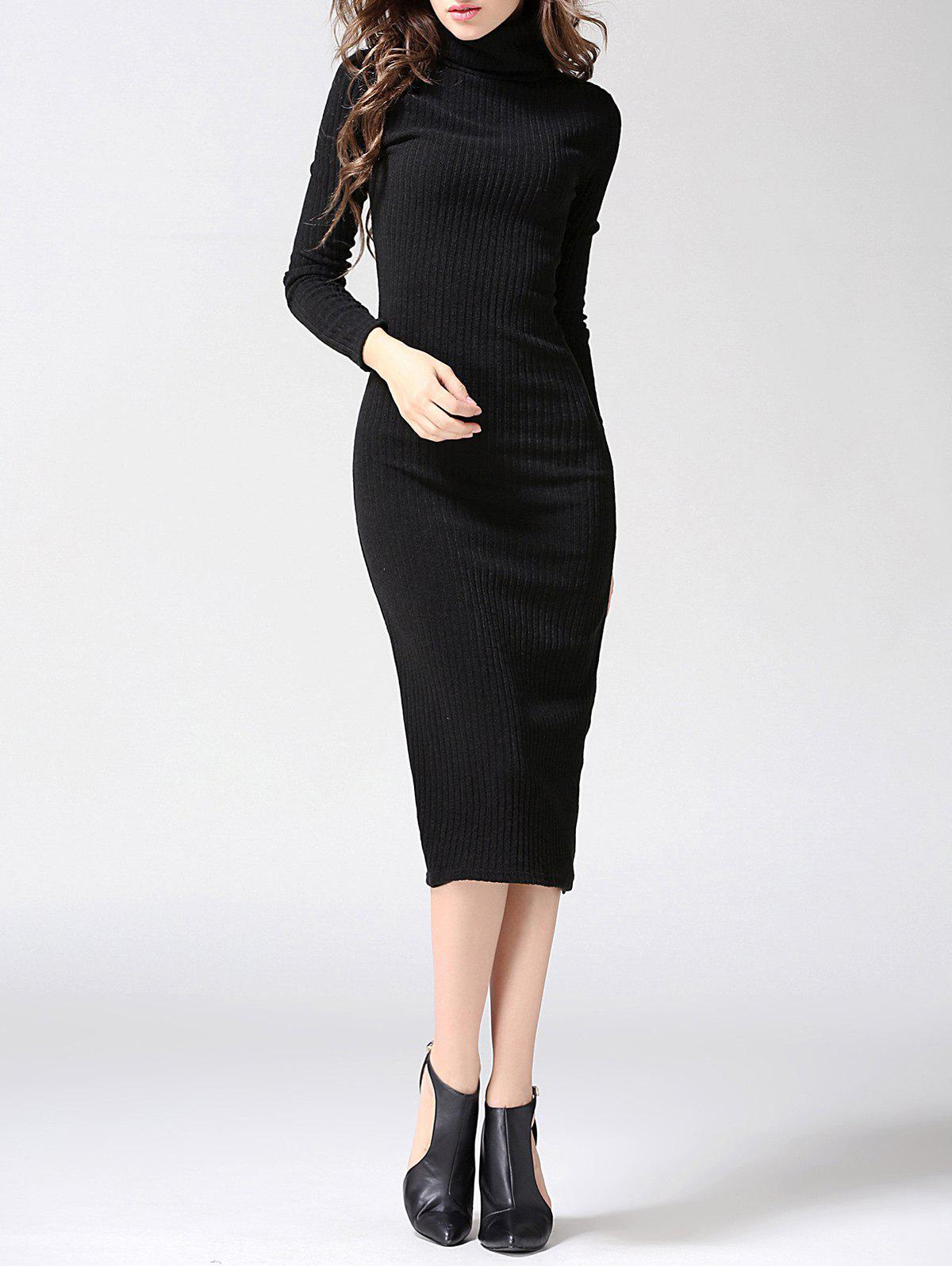 Turtleneck Ribbed Bodycon Midi Knit Dress - BLACK L