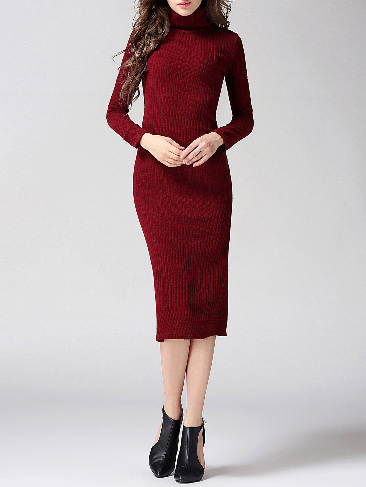 Turtleneck Ribbed Bodycon Midi Knit Dress - WINE RED M