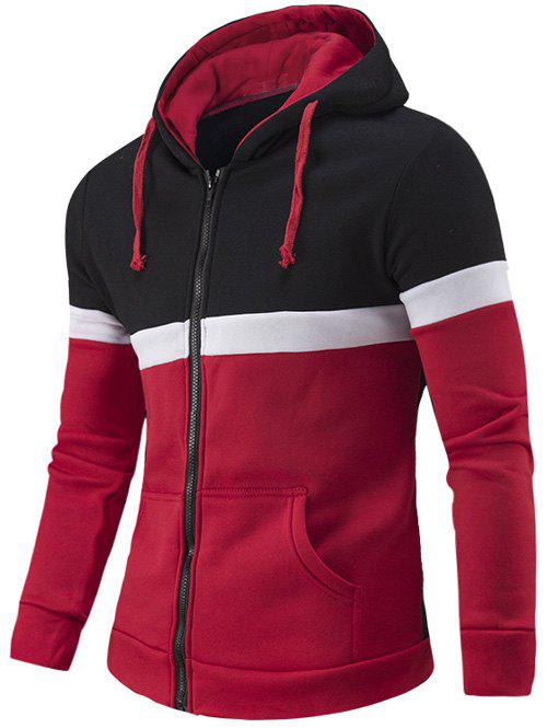 Zipper-Up Color Splicing Hoodie - RED 2XL