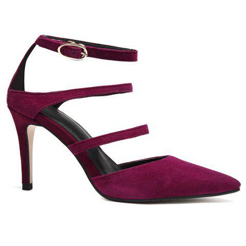 Suede Straps Pointed Toe Pumps - WINE RED 39