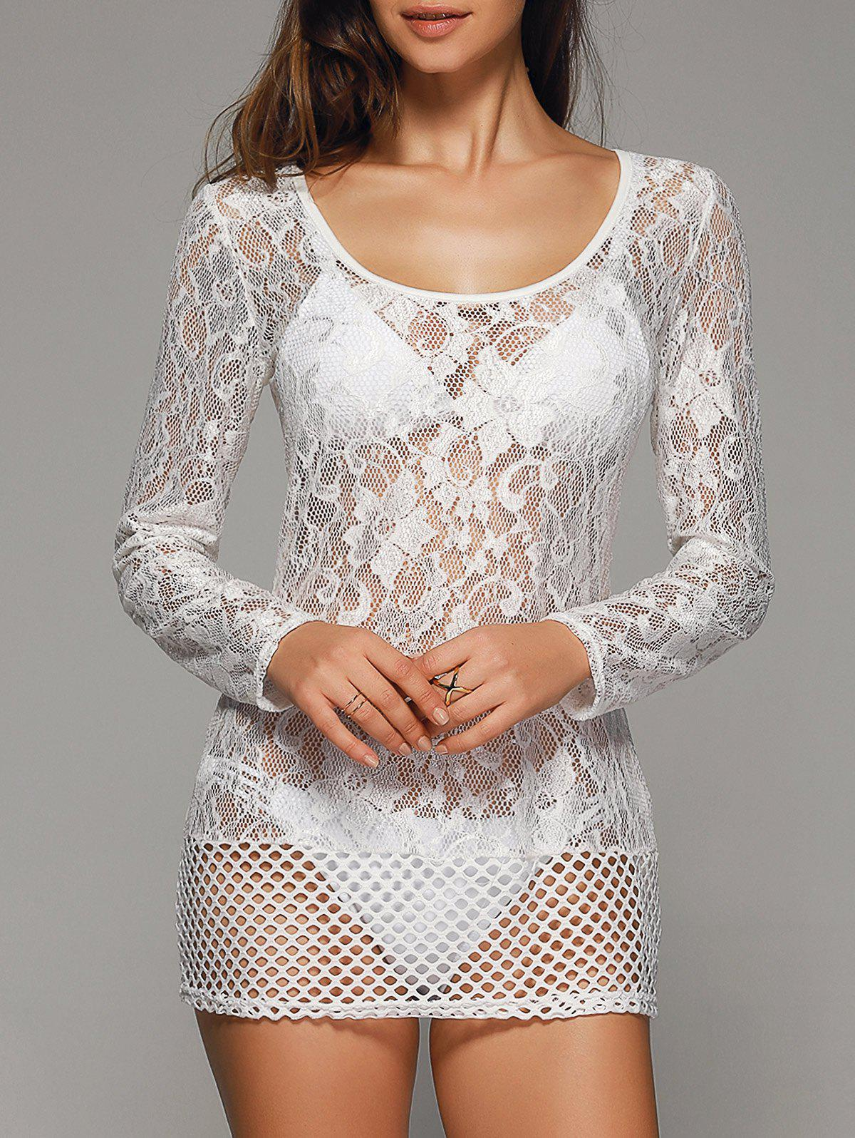 Crochet creux dentelle Out Cover-Up - Blanc XL