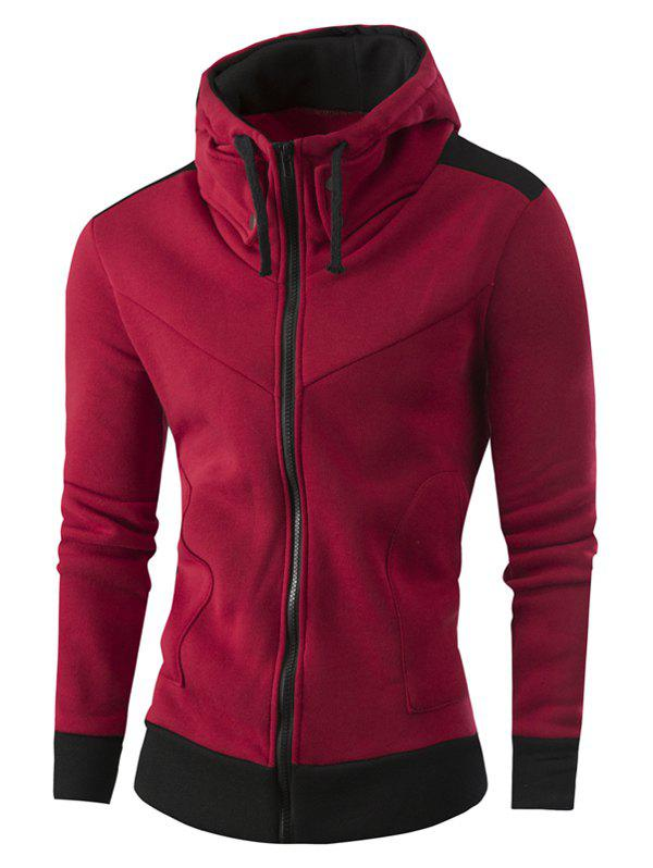 Full Zipper Two Tone Hoodie - WINE RED 2XL