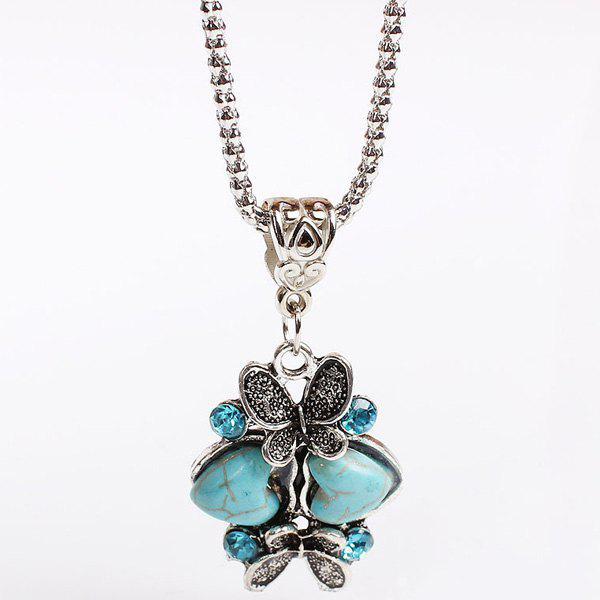 Faux Turquoise Heart Butterfly Sweater Chain - TURQUOISE