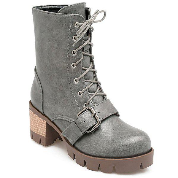 Buckle Lace-Up Chunky Heel Combat Boots