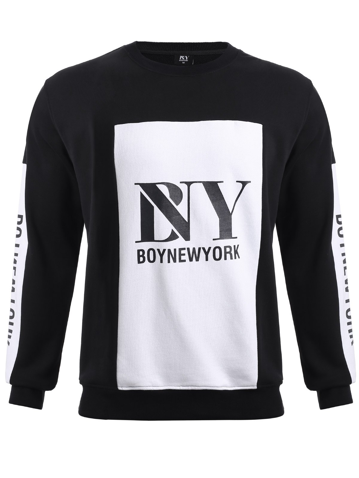 BoyNewYork Color Block Spliced Round Neck Sweatshirt - WHITE/BLACK M