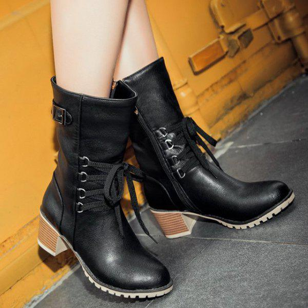 Buckle Mid-Calf Lace-Up Boots