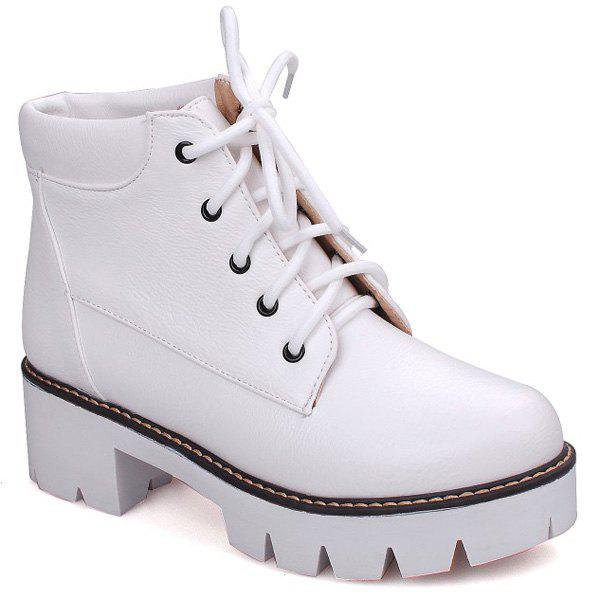 Lace-Up Platform Chunky Heel Combat Boots - WHITE 37