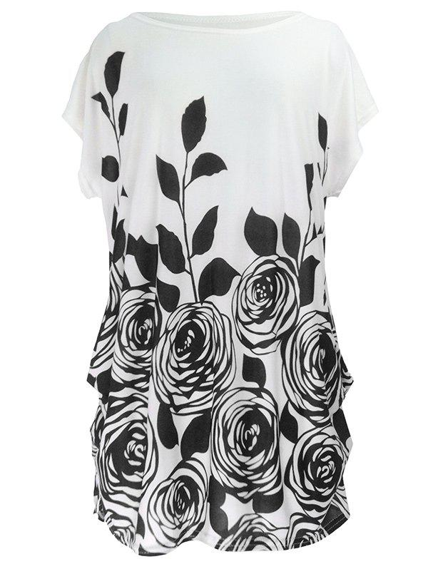 Abstract Floral Print Ruched Loose-Fitting T-Shirt - BLACK ONE SIZE