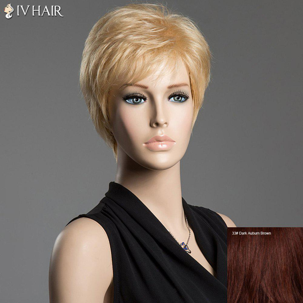 Fluffy Short Natural Straight Siv Hair Side Bang Real Human Hair Wig - DARK AUBURN BROWN