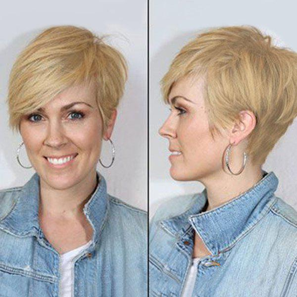 Short Side Bang Straight Human Hair Pixie Cut Fluffy Gorgeous Wig - GOLDEN BROWN/BLONDE