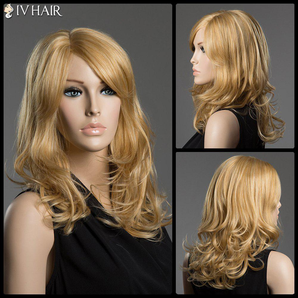 Towheaded Long Capless Human Hair Side Parting Wave Siv Hair Wig