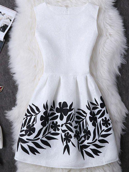 Concealed Zipper Leave Pattern Dress - WHITE XL
