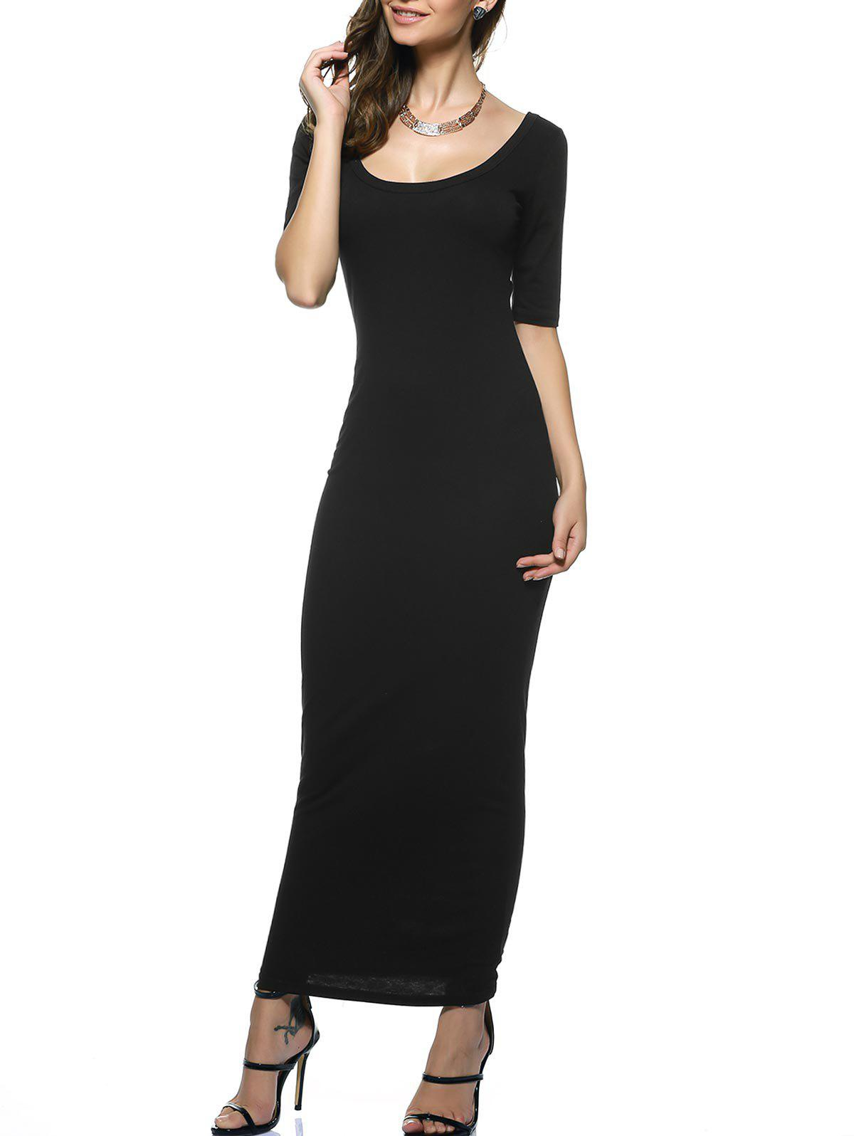 U Neck Long Backless Fitted Evening Dress