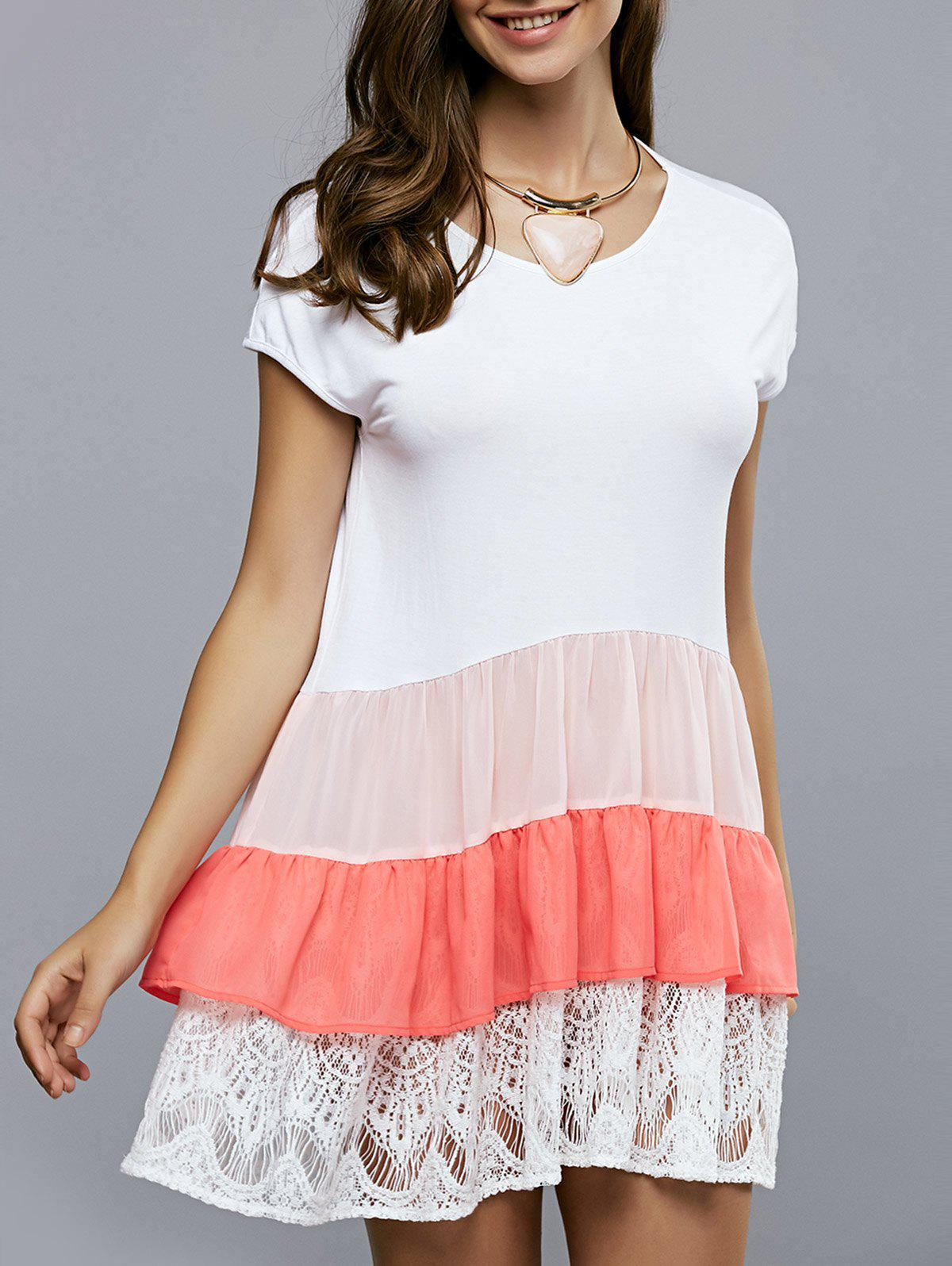 Hit Color Lace Splicing Short Sleeve Dress - WHITE XL