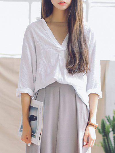 Plunging Neck 3/4 Sleeves Loose Blouse - WHITE ONE SIZE
