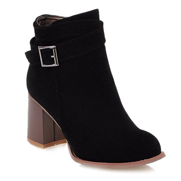 Side Zipper Buckle Suede Ankle Boots - BLACK 38
