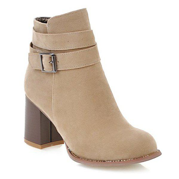 Side Zipper Buckle Suede Ankle Boots - APRICOT 38