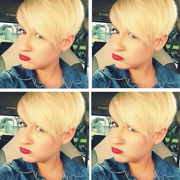 Short Side Bang Straight Human Hair Pixie Cut Fluffy Stunning Wig - GOLDEN BROWN/BLONDE