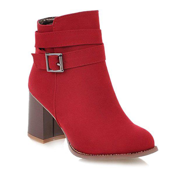 Side Zipper Buckle Suede Ankle Boots - RED 37