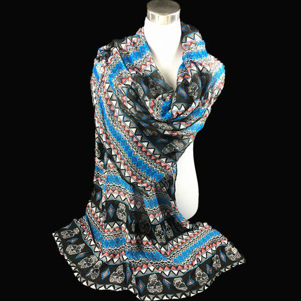 Bohemia Ethnic Skull and Geometry Pattern Voile Scarf - BLUE