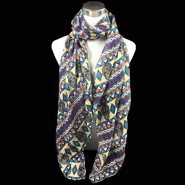 Bohemia Ethnic Skull and Geometry Pattern Voile Scarf - LIGHT YELLOW