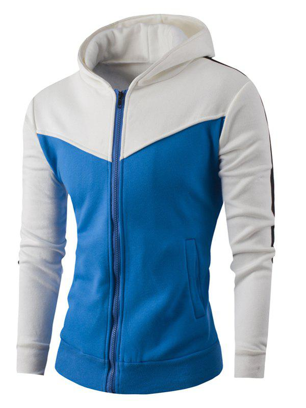 Color Spliced Striped Zipper-Up Hoodie