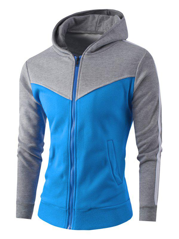 Zipper Up Stripe Bloc de Couleur Sweat à Capuche - Gris clair L