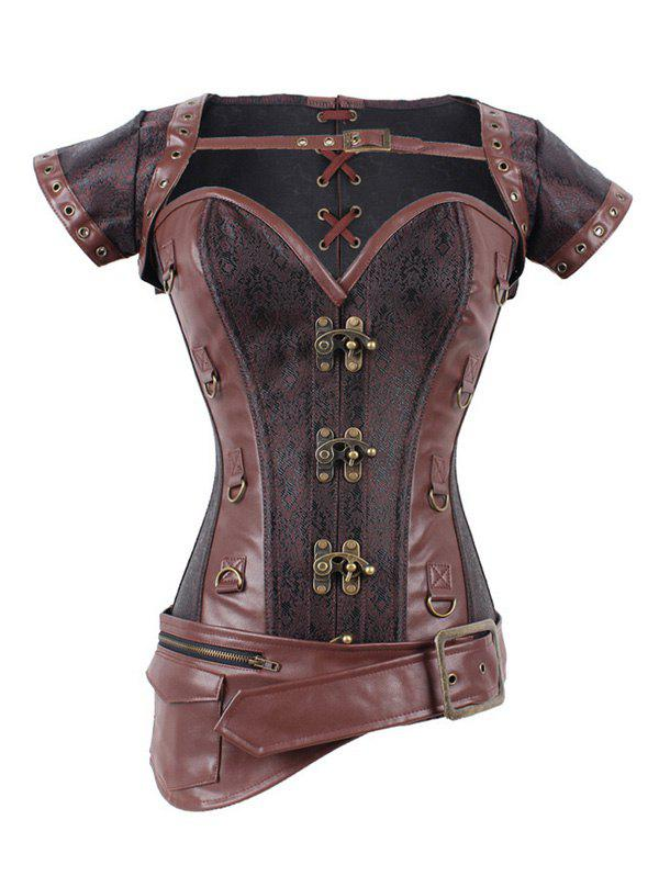 Asymmetric Buckled Zipper Design Corset - DEEP BROWN XL