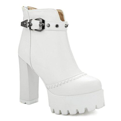 Ruffle Metal Buckle Platform Ankle Boots - WHITE 38