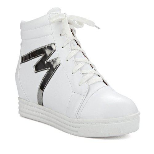 High Top Tie Up Print Ankle Boots - WHITE 38