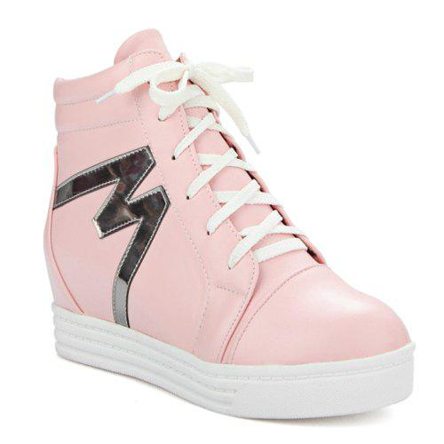 High Top Tie Up Print Ankle Boots - PINK 38