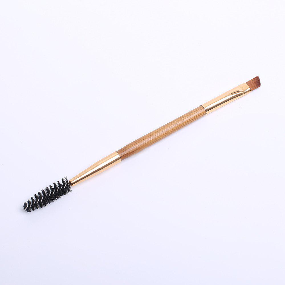 Professional Double-End Bamboo Handle Nylon Lash Brush Eyebrow Brush - GOLDEN