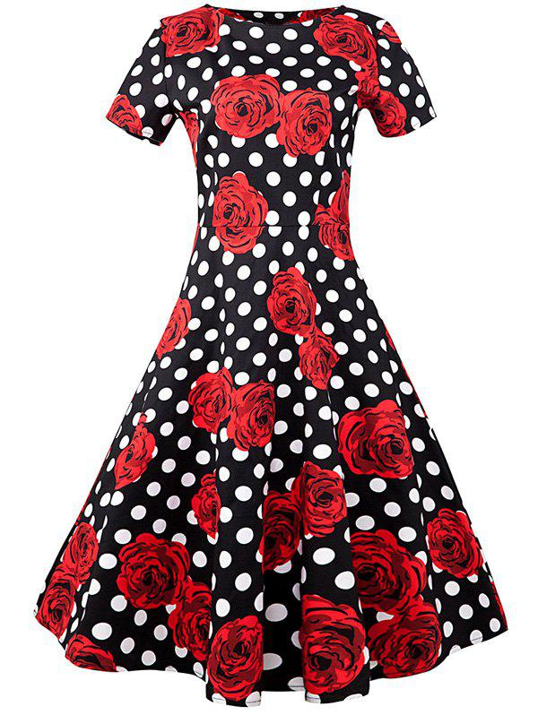 Floral Polka Dot A Line Vintage Dress - BLACK/WHITE/RED L