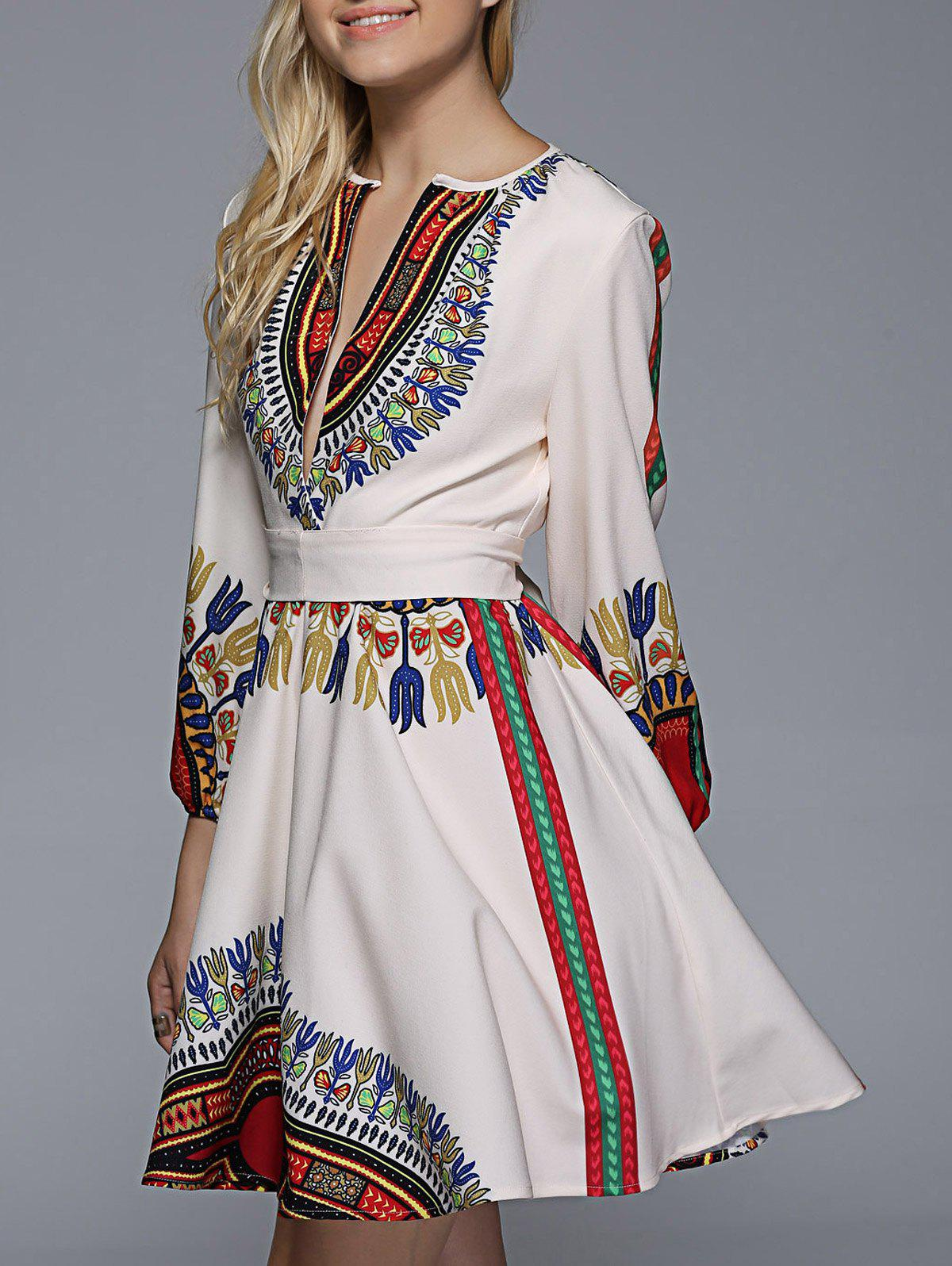 Elegant Women's Plunging Neck Long Sleeve Tribal Print Mini Shift Dress - OFF WHITE L