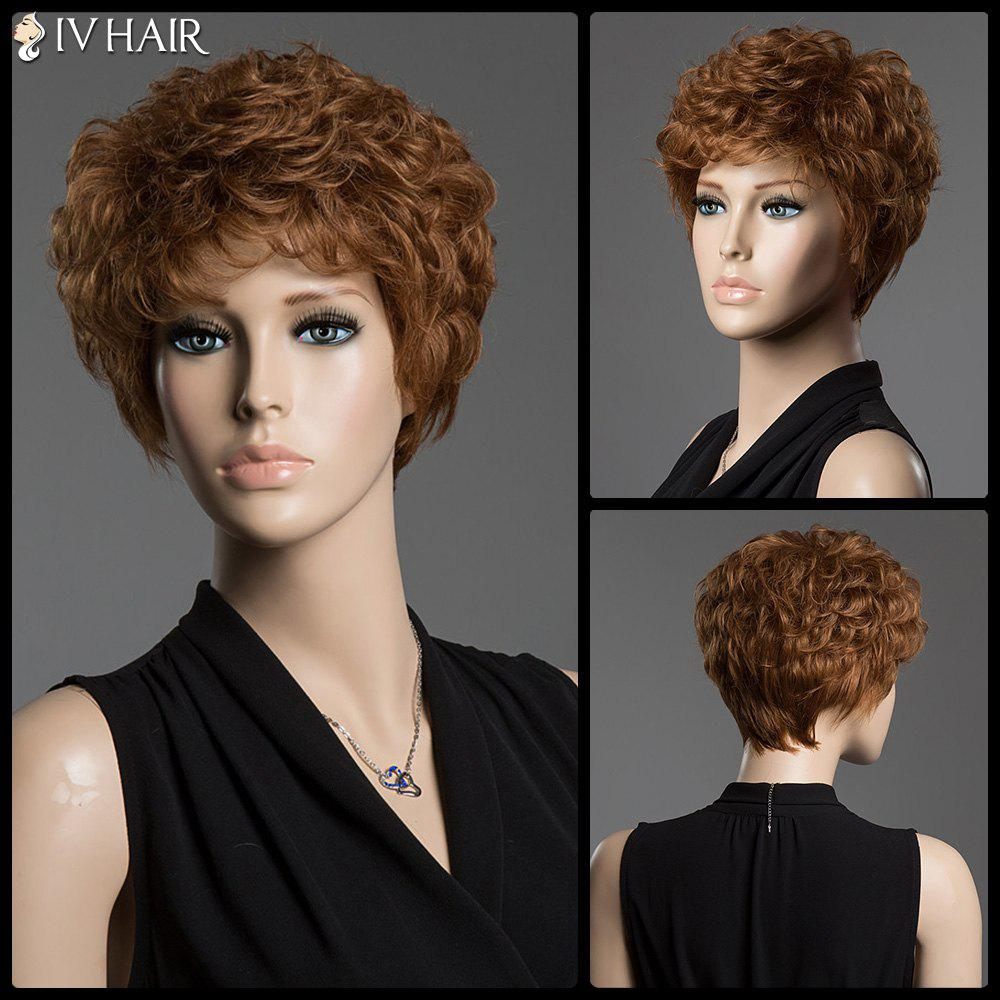 Human Hair Towheaded Curly Siv Hair Capless Short Wig - AUBURN BROWN