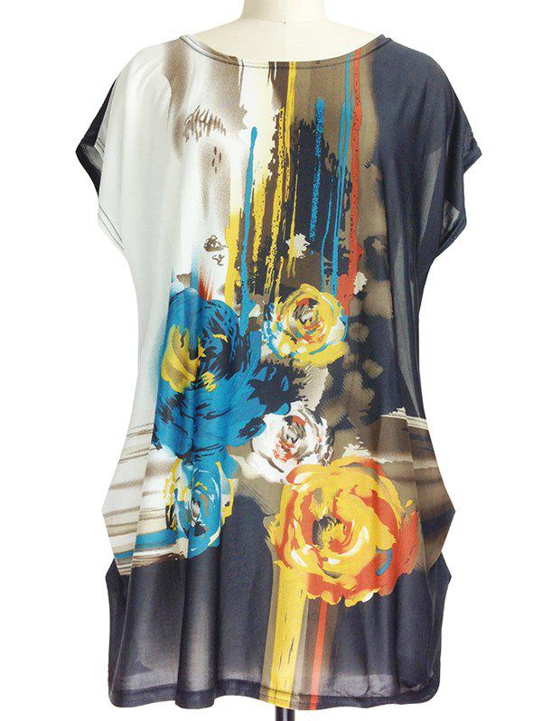 Abstract Floral Print Loose-Fitting Ruched T-Shirt - COLORMIX ONE SIZE