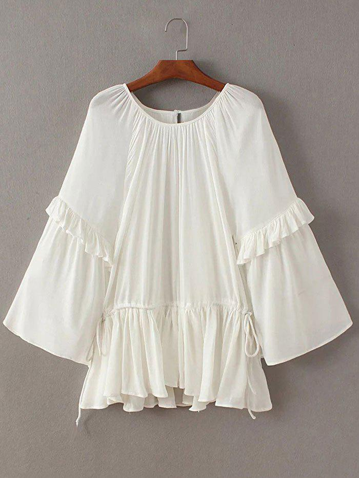Flouncing Frilled Side Strappy Blouse - Blanc ONE SIZE
