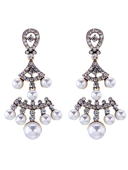 Boucles d'oreilles perle de Faux Rhinestoned Fan-Shaped - Or