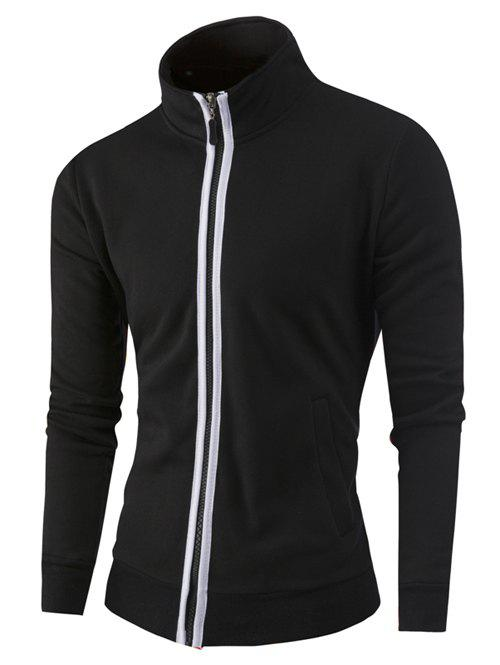 Zipper-Up Stand Collar Color Splicing Jacket - BLACK 4XL