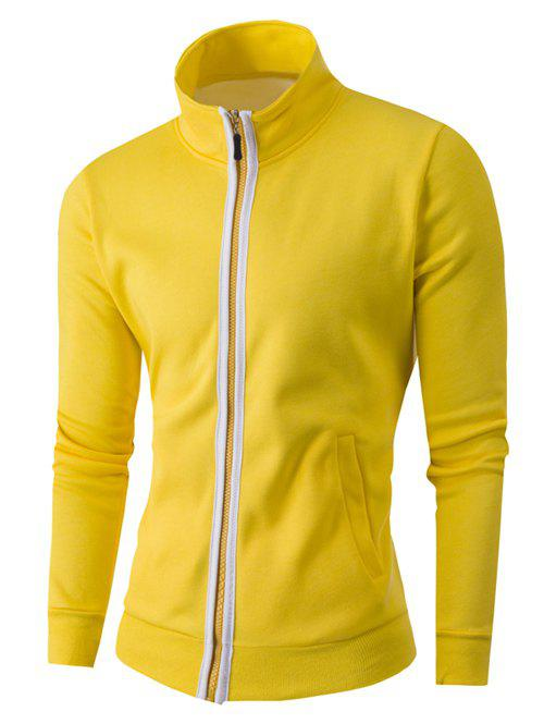 Zipper-Up Stand Collar Color Splicing Jacket - YELLOW 4XL