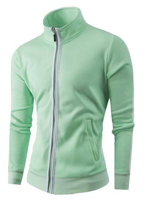 Zipper-Up Stand Collar Color Splicing Jacket - GREEN XL