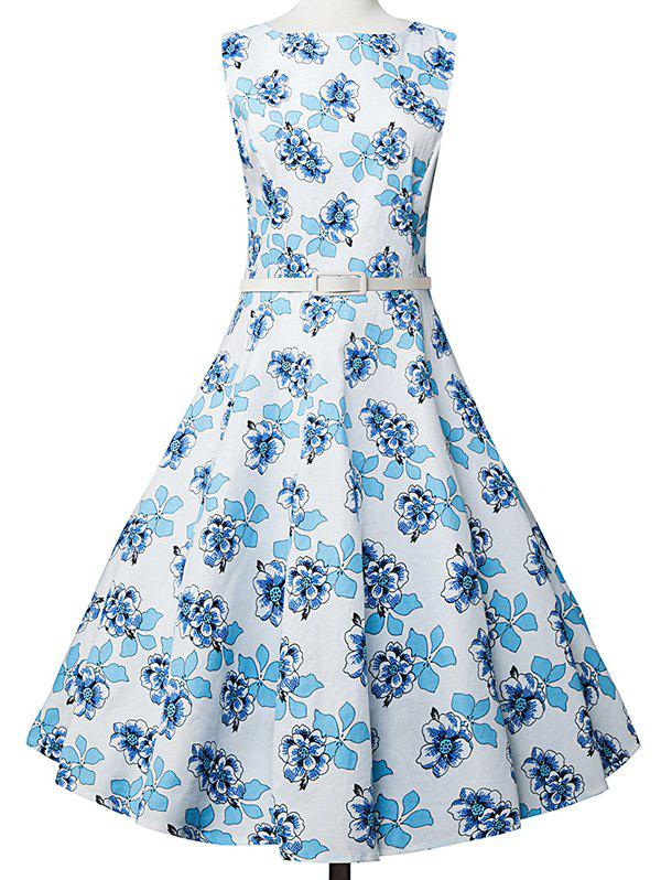 Vintage Floral Sleeveless A Line DressWomen<br><br><br>Size: M<br>Color: WHITE