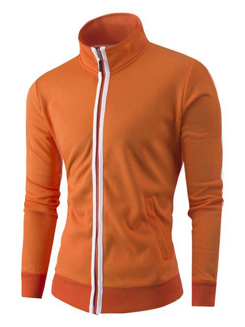 Zipper-Up Stand Collar Color Splicing Jacket - ORANGE M