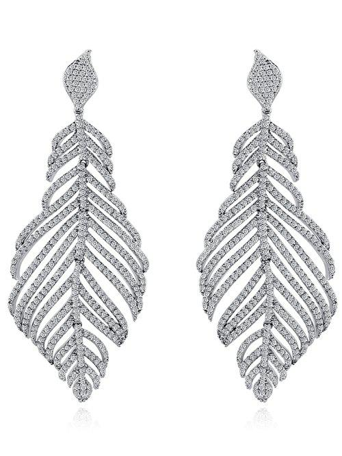 Rhinestoned Leaf Wedding Jewelry Earrings