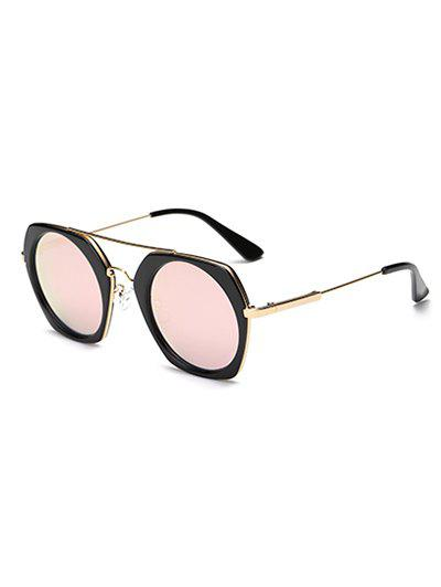 Joy-Ride Irregular Frame Round Lens Mirrored Sunglasses - PINK